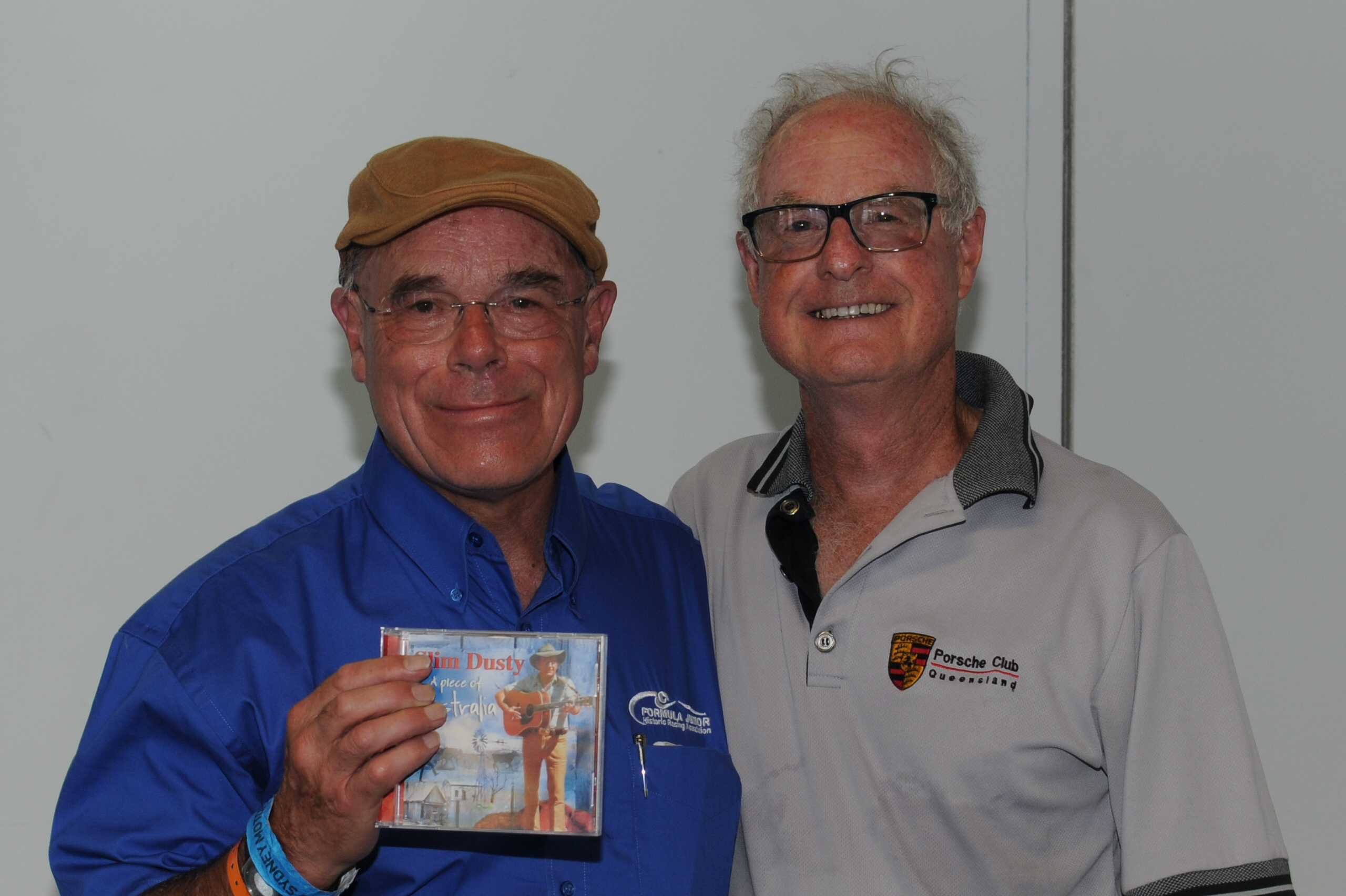 "Special presentation by Robert Buckley, to Duncan Rabagliati of ""A Piece of Australia CD"" by Slim Dusty featuring famed recording of ""I love to have a beer with Duncan""."